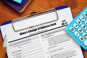FORM AR-11; ALIEN'S CHANGE OF ADDRESS CARD